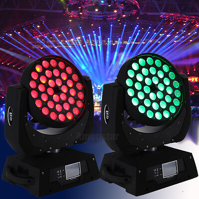 2x Moving Head 4-in-1 RGBW Lyres à LEDs Zoom Lumière Eclairage 36x10W