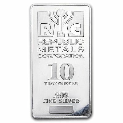 10 oz Silver Bar -.999 Fine Republic Metals Corporation (RMC)