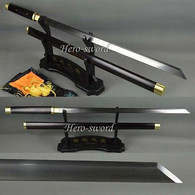 Handmade Folded Steel Ninja Chinese Tang Dynasty Sword Straight Knife Ebony Saya