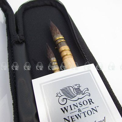 Winsor & Newton 2 Artists Watercolour Pure Squirrel Mop Brushes Case Set (601)