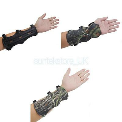 Adjustable 3 Strap Band Cow Leather Shooting Archery Arm Guard Bow Protector