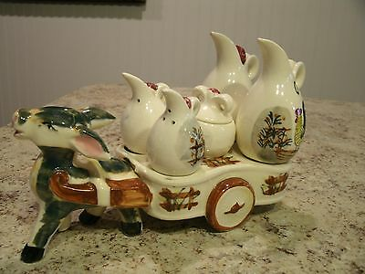 Unique Vintage CHASE Hand Painted Ceramic Donkey w/ Wagon Condiment Caddy Japan