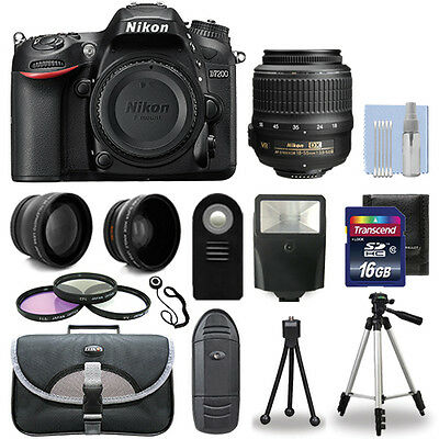 Nikon D7200 Digital SLR Camera Body + 3 Lens Kit 18-55mm Lens +16GB Bundle