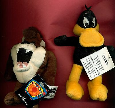 Daffy Duck Taz mini bean bag set 2 Looney Tunes Warner Stores new with tags
