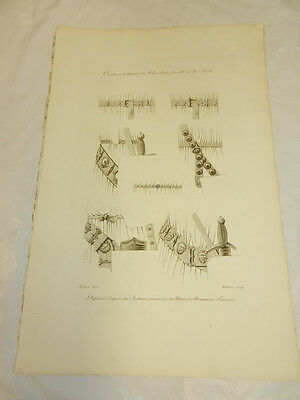 1806 French Antique Print/KNIGHTS MILITARY BELTS IN 14TH & 15TH CENTURIES
