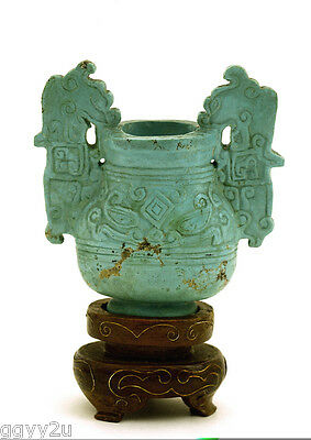 Chinese Natural Turquoise Carved Carving Small Incense Burner Censer
