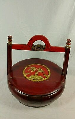 Chinese Beautiful Antique Red Wedding/Candy/Cookie Wood Basket
