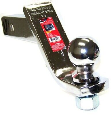 """4"""" Chrome Drop Hitch Receiver Trailer Ball Mount 2"""" Receiver With 2"""" Ball"""