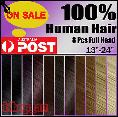 """13""""-24"""" 8Pcs Full head clip in Extensions Real Remy Human Hair Clip ins Newly ix"""