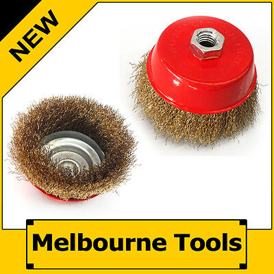 """2PC 4"""" 100mm Steel Wire Cup Wheel Brush Disc, Metal Steel M14x2 Angle Grinder"""