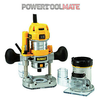"Dewalt D26204K 1/4"" Plunge + Fixed Base Router 240v 900W"