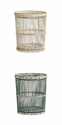 Home Dust Paper Waste Bin Rattan Bamboo Rustic Washed Stylish Design Idea Gift