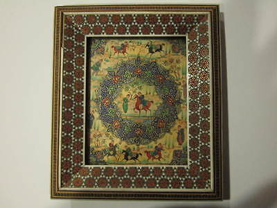 Vintage Persian Miniature Oil Painting - White Back - Inlaid Khatam Wood Frame