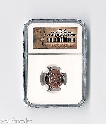 2009 P Lincoln Birth & Childhood First Day Issue NGC Certified MS 66 RD Lp1 Cent