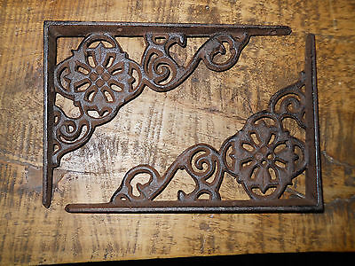 2 Cast Iron Antique Style Web  Brackets, Garden Braces Shelf Bracket