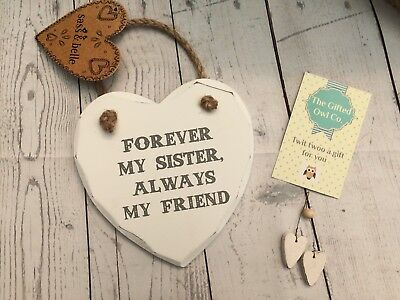 Forever My Sister Chunky Vintage Heart Wooden Sign Plaque Gift Present Sisters
