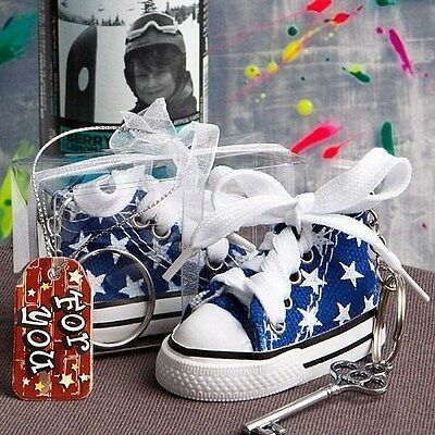 40 Oh-So-Cute Blue Star Print Baby Sneaker Key Chain Baby Shower Favors
