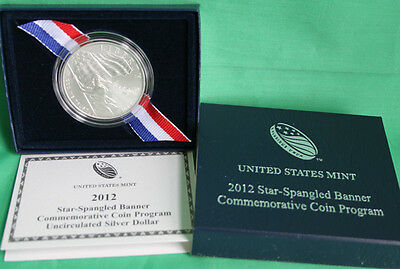 2012 Star-Spangled Banner UNCIRCULATED 90% Silver Dollar US Mint Coin Box & COA