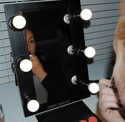 Hollywood Makeup Lights Vanity Lighted Theatre Beauty Mirror Black 6 Bulb