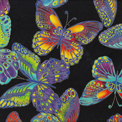 Large Colourful Butterflies on Black Quilting Fabric FQ or Metre *New*