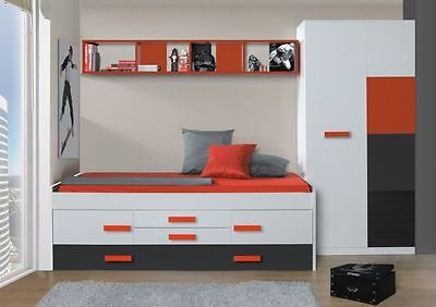 Fabio Bedroom Furniture Set Trundle Bed Wardrobe Wall Shelf Red + White + Grey
