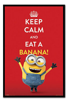 Framed Minions Keep Calm And Eat A Banana Poster New