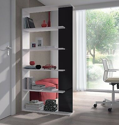 Aida Living Room 5 Tier Bookcase Room Divider Display Unit White / Black Gloss