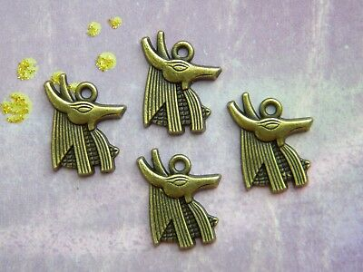 4 ANUBIS Egyptian GOD of the Dead Loose MAGIC Pendants Charms Bronze finish
