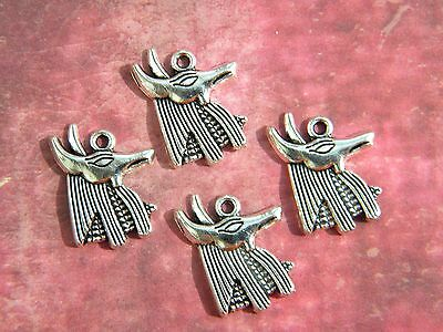 4 ANUBIS Egyptian GOD of the Dead Loose MAGIC Pendants Charms Silver finish