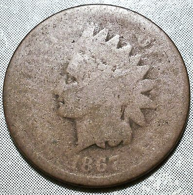 1867 Indian Head Penny AG ABOUT GOOD Nice Brwn SCARCE Date Filler Post CW 9.8MiL