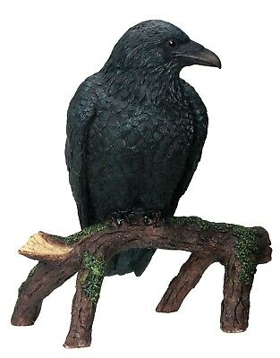 Scavenger Bird Vulture Dark Raven Perching on Tree Figurine Summit Collection