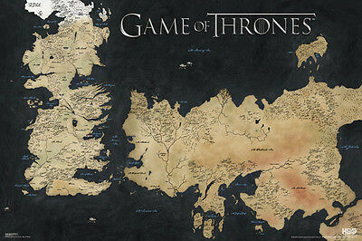 """Game Of Thrones World Map POSTER """"Westeros and Essos"""" BRAND NEW Licensed Art"""