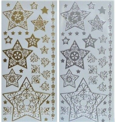 FLOURISH STARS Peel Off Stickers Christmas Corners Star Border Gold or Silver