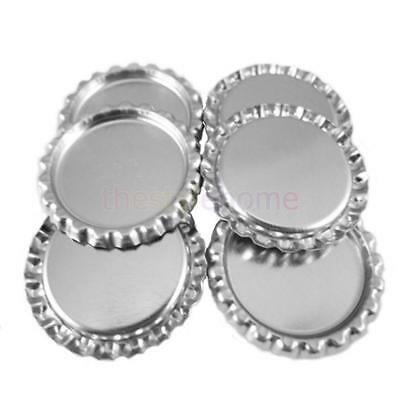 """100PCS Flattened flat 1"""" inch Chrome Liner-less Silver Bottle Caps No Liners"""