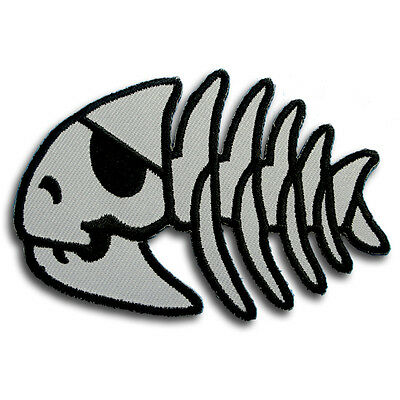 Gray Fish Skull Pirate Bone Skeleton Patch Iron on Kids Punk Harley Biker Emo V2