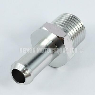 Alloy 3/8 NPT Push On Hose Adapter Fitting 11mm / AN8 sized nipple Barb (Silver)