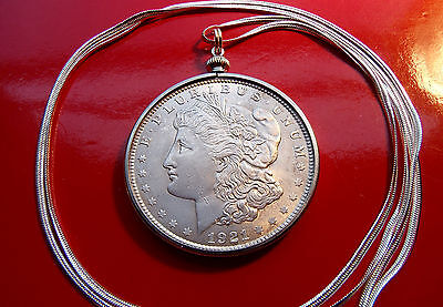 "Antique pre 1921 Morgan Silver Dollar Pendant on a 30"" 925 Silver Snake Chain"