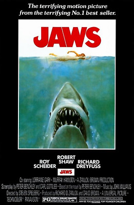 JAWS MOVIE SCORE POSTER (61x91cm) SHARK ATTACK PICTURE PRINT NEW ART