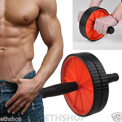 ABS Abdominal Body Exercise Fitness Red Roller Machine Strength Training Wheel