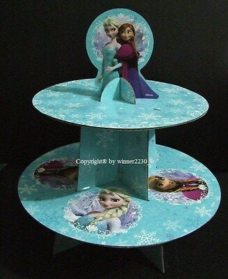 Disney FROZEN 2 Tier Cardboard Cake Stand + Topper Fit 12 Cupcake Elsa & Anna