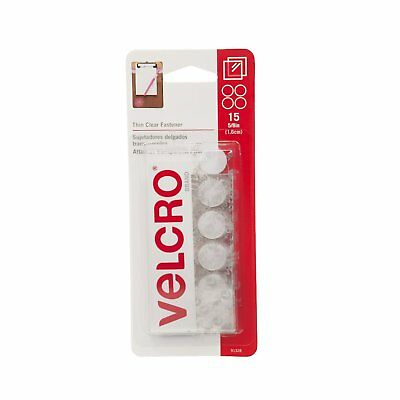 """Velcro Thin Clear 5/8"""" Coins 15 Count Sticky Fasteners Adhesive Hook & Loop NEW!"""