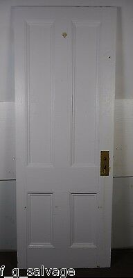"Antique Vintage 4 Panel Interior Door 75-1/8"" X 28-1/2"" (A4) Early 1900's"