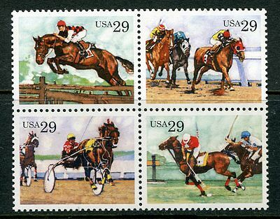 United States 1993 Sporting Horses Mint Complete Set Of 4 Stamps