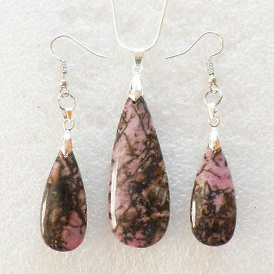 Excellent Rhodonite Teardrop Necklace & Earring Set NN1811