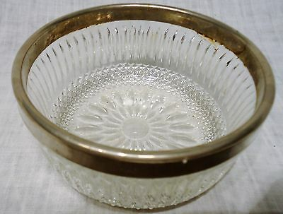 Crystal Relish Bowl Dish Silverplated Stainless Steel Band Rim Edge England