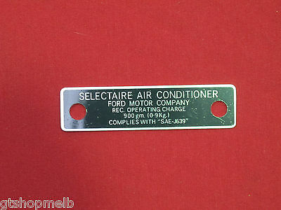 Ford Xw Xy Xa Xb Gt Gtho Gs A/c Air Conditioned Selectaire Decal Tag 351 302 New
