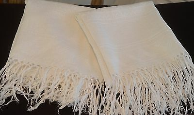 Pair Of Marvelous Antique White Italian Linen Show Towels Pp650