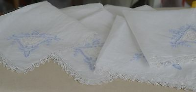 Beautiful Vintage Linen & Lace Tablecloth 12 Napkins W Blue Embroidery Pp686