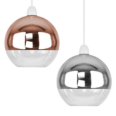 Modern Metallic Copper / Chrome Glass Globe Ceiling Pendant Light Lamp Shades