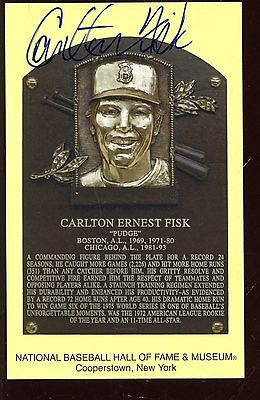 Yellow Hall of Fame Plaque Autographed Carlton Fisk Hologram